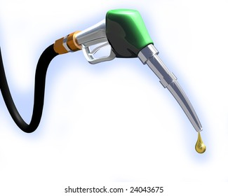 3d illustration of gas pump nozzle on white background