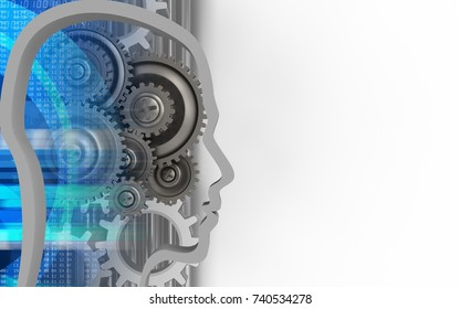 3d illustration of gear wheels over white background with gears