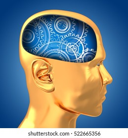 3d illustration of gears inside golden head over blue background