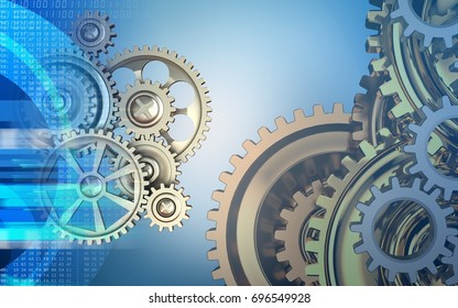 3d illustration of gears over blue background with gears system