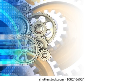 3d illustration of gears over white background with gears