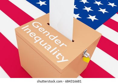 """3D illustration of """"Gender Inequality"""" script on a ballot box, with US flag as a background."""
