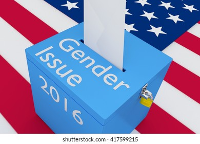 "3D illustration of ""Gender Issue"", ""2016"" scripts and on ballot box, with US flag as a background. Election Concept."