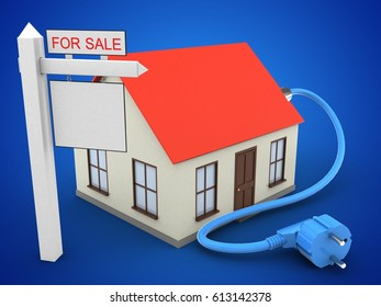 3d illustration of generic house over blue background with power cable and sale sign