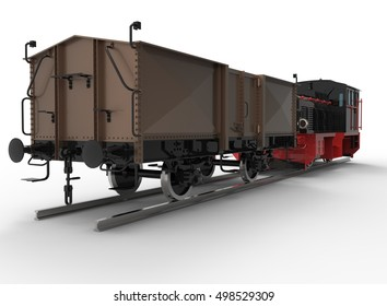 3d illustration of generic locomotive with railway carriage. nice and clean metal. isolated on white background