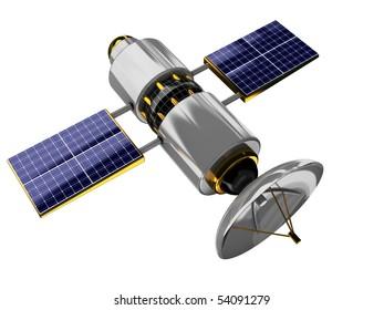 3d illustration of generic satellite isolated over white background