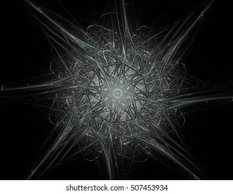 3D illustration geometry. 3D rendering visually attractive backdrop made of conceptual grids curves and fractal elements suitable as element for layouts on physics mathematics technology science.