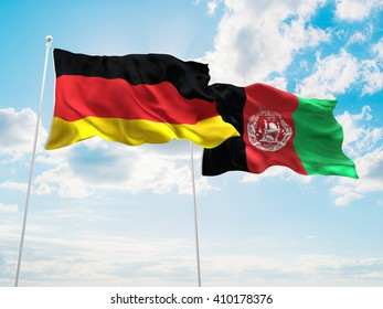 3D illustration of Germany & Afghanistan Flags are waving in the sky