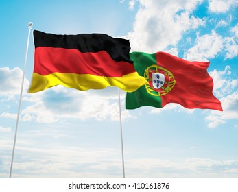 3D illustration of Germany & Portugal Flags are waving in the sky