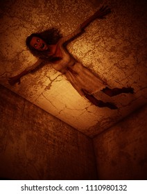 3d illustration of ghost woman crawling on the wall in haunted house
