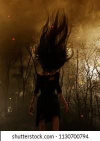 3d illustration of Ghost woman in the woods,Scary background mixed media