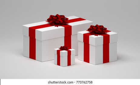 3D Illustration of Gift boxes with Bow on top.