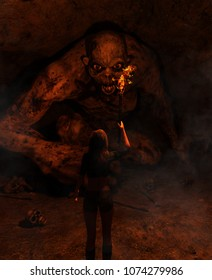 3d illustration of the girl with torchlight discover a monster in derelict cave,3d fantasy art for book cover,book illustration