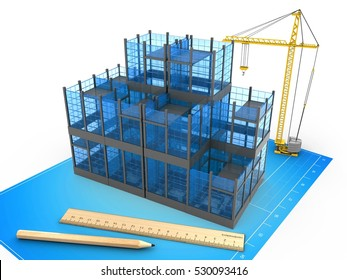 3d illustration of glass building over blueprint background with crane