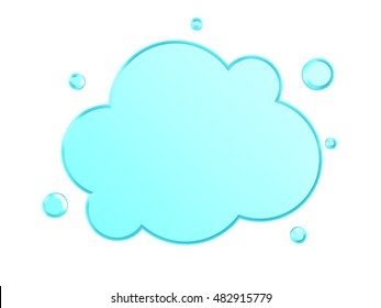 3d illustration of glass cloud shape over white background