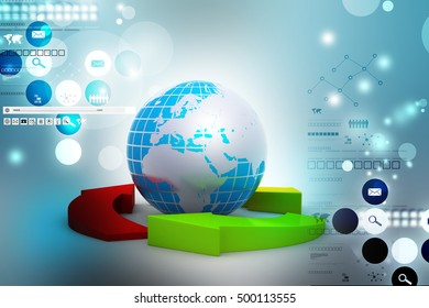 3d illustration of Globe and multi color arrows
