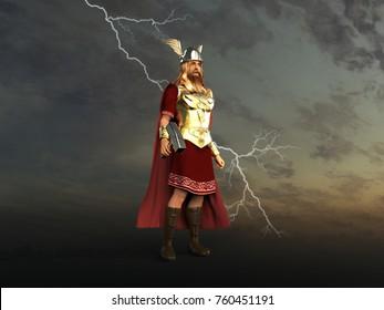3d illustration of God Thor