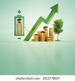 3d illustration of gold coins with battery and tree on green background in business growth or ecology concept.