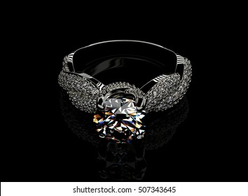 3D illustration of gold Ring with Diamond. Jewelry background. Fashion accessory