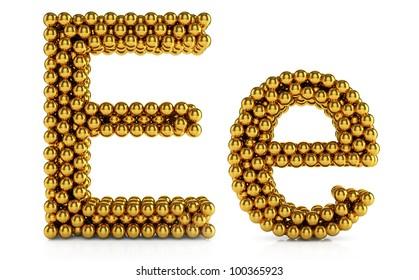 3d illustration of golden alphabet isolated on white background