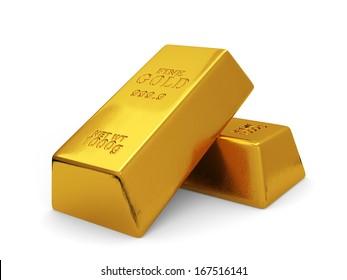 3d illustration of golden bars isolated on white background. Finance concept