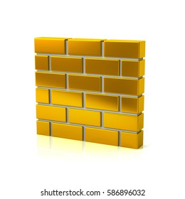 3d illustration of golden brick wall icon isolated on white background