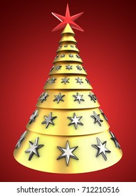 3d illustration of golden Christmas tree over red background with stars decoration