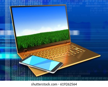 3d illustration of golden computer over digital background with meadow screen and smartphone