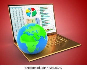 3d illustration of golden computer over red background with business data screen and globe