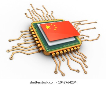 3d illustration of golden computer processor over white background with china flag