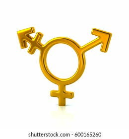 3d illustration of golden transgender male with female icon isolated on white background