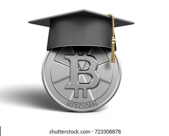 3d illustration. Graduation cap and Bitcoin. Image with clipping path