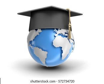 3D Illustration. Graduation cap and 3d Globe. Image with clipping path. Elements of this image furnished by NASA