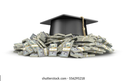 3D Illustration. Graduation cap and Pile of Dollars. Image with clipping path