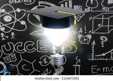 3d illustration of graduation hat with lamp on black background
