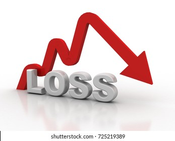 3d illustration Graph down loss arrow