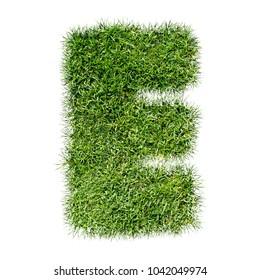 3D illustration grass letter  E on white background