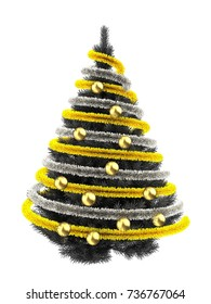 3d illustration of gray Christmas tree over white with golden balls and frippery