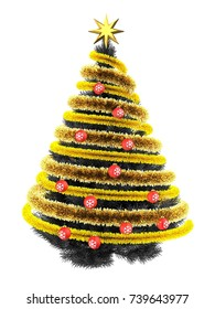 3d illustration of gray Christmas tree over white background with tinsel orangeand red balls
