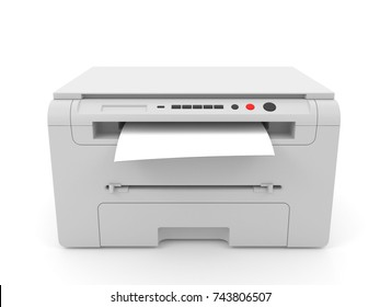 3d illustration of gray inkjet printer for printing, isolated on white background