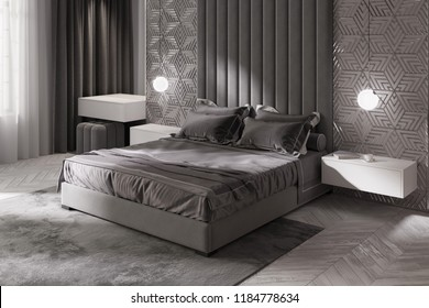 3d illustration. Gray modern bedroom with dressing table