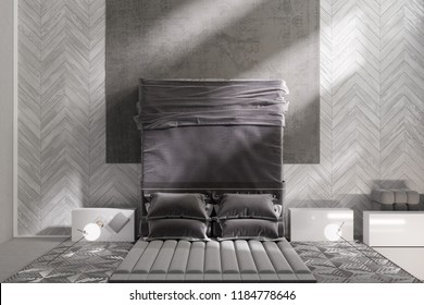 3d illustration. Gray modern bedroom with dressing table. Top view