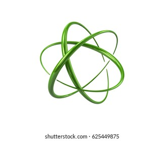 3d illustration of green atom symbol isolated on white background