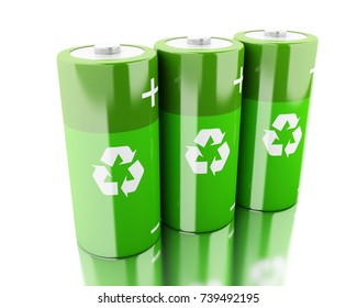 3d illustration. Green batteries with recycling symbol. Eco energy concept. Isolated white backgroud
