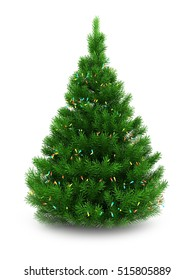 3d illustration of green Christmas tree over white background with lights