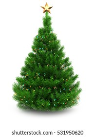 3d illustration of green Christmas tree over white background with lights and star