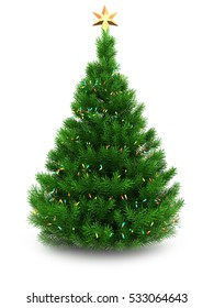 3d illustration of green Christmas tree over white background with lights and golden star