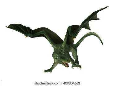 3D Illustration of a green fantasy dragon isolated on white background