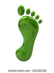 3d illustration of green footprint