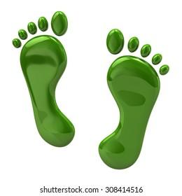 3d illustration of green footprints icon